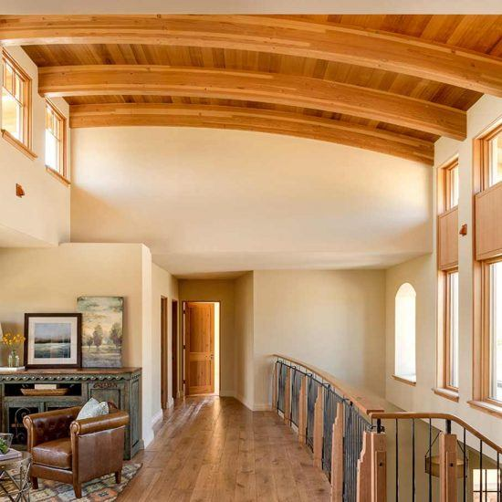 Contemporary Rustic Barrel-Style Exposed Beam Ceiling Designed by HartmanBaldwin