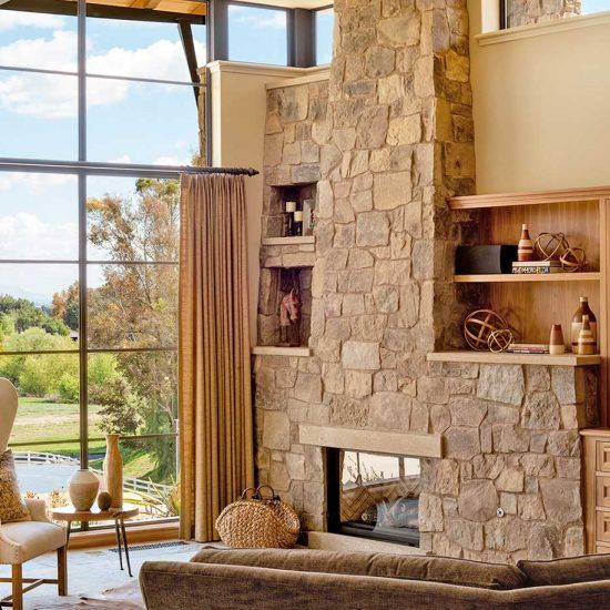 Contemporary Ranch Style Living Room and Fireplace Designed by HartmanBaldwin