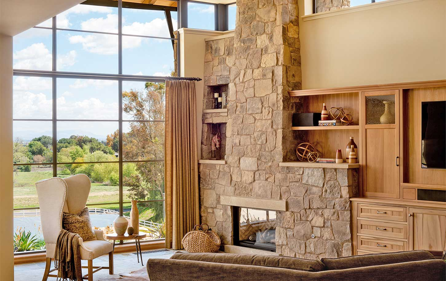 contemporary ranch style living room and fireplace