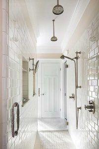 Hampton's Style Bathroom with Double Waterfall Showerhead Designed by HartmanBaldwin