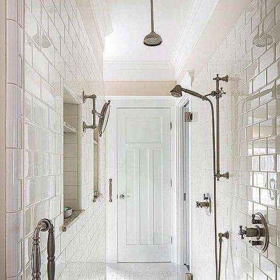 Hampton's Style Bathroom with Double Waterfall Showerhead Designed by HartmanBaldwin