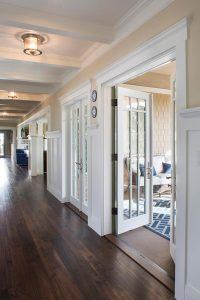 Hampton's Style Entryway with French Doors Designed by HartmanBaldwin