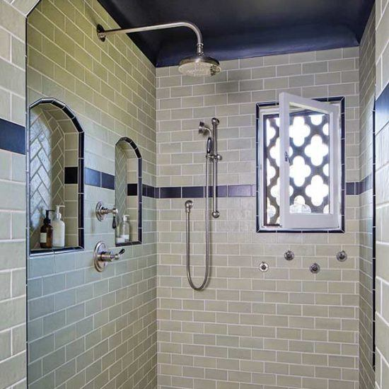 Custom Spanish Style Ceramic Tile Shower in Master Bedroom Designed by HartmanBaldwin