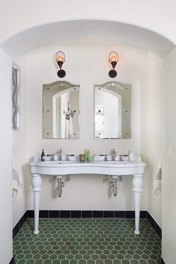Custom Mediterranean Double Sink Master Bathroom Design by HartmanBaldwin
