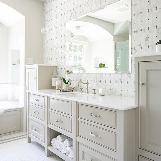 Old English Home Master Bathroom Vanity Remodel Design by HartmanBaldwin